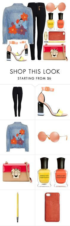 """Joyful"" by smartbuyglasses ❤ liked on Polyvore featuring Pierre Hardy, Citizens of Humanity, Ray-Ban, Dolce&Gabbana, Deborah Lippmann, Revlon, Madewell, Jennifer Meyer Jewelry, red and orange"