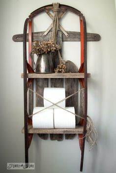 Vintage sleigh shelf / 5 upcycled shelves you don't see every day! By Funky Junk Interiors for Vintage sleigh shelf / 5 upcycled shelves you don't see every day! By Funky Junk Interiors for Repurposed Items, Repurposed Furniture, Diy Furniture, Vintage Furniture, Funky Junk Interiors, Country Decor, Rustic Decor, Wooden Pallet Shelves, Rustic Shelves
