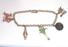 Vintage souvenir charm bracelet, Welsh charm bracelet, Wales, gold tone  and enamel charm bracelet, costume jewellery, vintage jewellery by vintagesilverlynx on Etsy