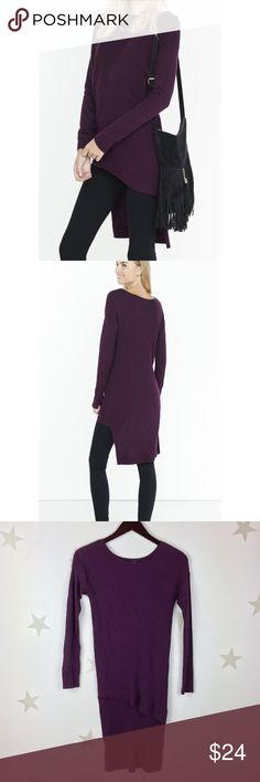 NWT Express extreme hi-lo ribbed sweater purple XS Ribbed sweater with asymmetric front hem and extreme hi-lo. Great for leggings. Express Sweaters