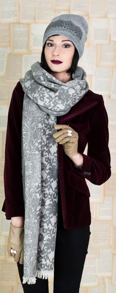 Beautiful autumnal scarf with floral pattern that looks like lace.  #scarf #winter  Szaleo.pl | Fashion & Accessories