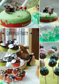 Grüffelo Party, Grüffelo Torte, Fondant Grüffelo, Kindergeburtstag, Eule mit Zuckerguss, Eulen Muffins, Grüffelogrütze, grüner Wackelpudding, Grüffelo Kindergeburtstag, Schlangenkuchen