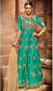 Green Color Silk Anarkali Style Churidar Kameez | FH499676458 #anarkali , #salwar , #kameez , #dresses , #suits , #designer , #colors , #pinterest , #Shopping , #fashion , #boutique , #online , #heenastyle , #indian , #style , @heenastyle , #churidar , #likes , #abaya , #pakistani, #clothing , #womens , #mens , #kids , #boys , #girls