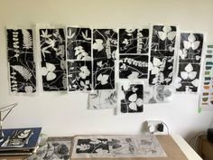 """Jennifer Douglas on Instagram: """"Printing today started quietly with black & white works with plants from the garden. Then 💥 a lot of colour came along! Getting back in the…"""" Black And White Words, Black White, Gelli Plate Printing, It Works, Photo Wall, Colour, Garden, Frame, Plants"""