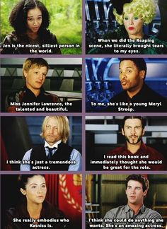 "The Hunger Games cast talking about Jennifer Lawrence. And rightly so. my favorite is josh's ""Miss Jennifer Lawrence, the talented and beautiful. Hunger Games Memes, Hunger Games Cast, Hunger Games Fandom, Hunger Games Catching Fire, Hunger Games Trilogy, Johanna Hunger Games, Jennifer Lawrence Hunger Games, Jenifer Lawrence, Jennifer Lawrence Funny"