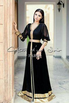Caftan for a night Paris Morrocan Dress, Moroccan Caftan, Muslim Fashion, Hijab Fashion, Fashion Dresses, Oriental Dress, Oriental Fashion, Hijab Evening Dress, Look Short