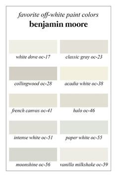 Favorite Off-White Benjamin Moore Paint colors: White Dove, Classic Gray, Collingwood, Acadia White, Fench Canvas, Halo, Intense White, Paper White, Moonshine, Vanilla Milkshake