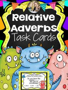 Enjoy these COLORFUL and ENGAGING task cards while  you watch your students MASTER RELATIVE ADVERBS!Whats included: 34 Task Cards! (see below)Anchor ChartFun Recording Sheet (front and back)Answer Keys14 task cards have students choose the relative adverb that best completes the sentence.For example: You will enjoy ______ your students are learning with little prep from you! (where, when, why)10 task cards have students choose the sentence that uses the relative adverb correctly.For…