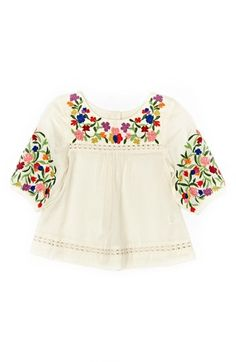 Peek 'Marin' Embroidered Peasant Top (Baby Girls)