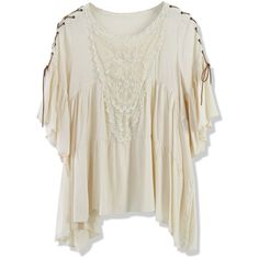 Chicwish Boho Top With Lace Fastening Sleeve in Beige ($30) ❤ liked on Polyvore featuring tops, beige, lace trim top, embroidered boho top, embroidered top, boho tops and collar top