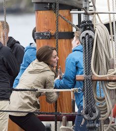 Kate Middleton Photos Photos - Catherine, Duchess of Cambridge on board the tall ship, Pacific Grace, before sailing with members of the Sail and Life Training Society at Victoria Inner Harbour on the final day of their Royal Tour of Canada on October 1, 2016 in Victoria, Canada. The Royal couple along with their Children Prince George of Cambridge and Princess Charlotte are visiting Canada as part of an eight day visit to the country taking in areas such as Bella Bella, Whitehorse and…