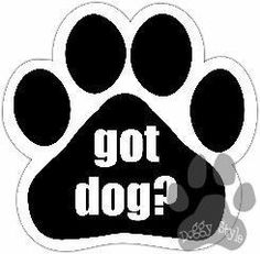 Got Dog http://doggystylegifts.com/products/got-dog-paw-magnet