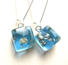 Unique Blue Resin Cube Earrings with Gold, Silver Paper - Shiny Beach Treasure Jewellery OOAK by lucile