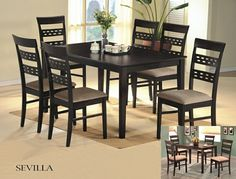 "7 pc Sevilla collection designer style back chairs and espresso finish wood dining table set and fabric seats. This set includes the table with tapered legs and 6 side chairs upholstered with a fabric seat and designer back. Table measures 36"" x 60"" X 30"" H. Chairs measure 38"" H to the back. Some assembly required."
