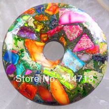 Rainbow Sea Sediment Jasper & Pyrite Donut Pendant Bead 50x8mm SY741(China (Mainland))