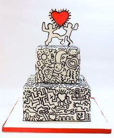 Keith Haring inspired wedding cake