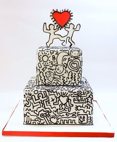 Keith Haring inspired wedding cake