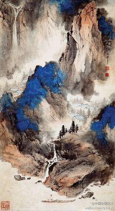 張大千 - 潑彩山水    Chang Dai-chien ( 1899 -1983 ) was one of the best-known and most prodigious Chinese artists of the twentieth century. Originally known as a guohua (traditionalist) painter.                          這幅山水畫粗看滿纸烟雲,迷漓幻譎,具有很强的抽象意味;细看则是山谷幽深、雲氣缭繞、深澗萬仞。整幅畫乍陰乍陽,冷暖相配,變化奇詭,幽幽山谷深不可测,使人感覺到一股清冽之氣直透心脾。抽象與具象在畫中得到了完美的體現,為中國畫開闢了一條新路。