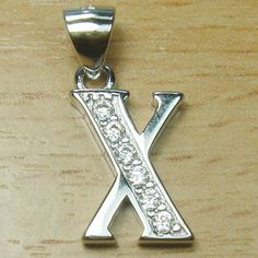 Micro Setting Brilliant Cut White CZ 925 Sterling Silver Initial Letter X Pendant Initial Pendant, Initial Letters, Initials, Lettering, Sterling Silver, Drawing Letters, Texting
