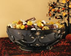 Ceramic Black Spider Halloween Candy Serving Bowl