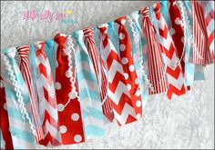 Dr Seuss inspired Red Aqua Turquoise and White Rag Tie Banner! Fabric Tulle & Ribbons - photo prop, birthday, party, cake smash