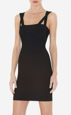 $189.00 Herve Leger Zinna Sleeveless Bandage Dress Dark Blue   Create a strong style without sacrificing feminine appeal -- this perfectly detailed bandage dress hits all the right notes.  Square neck. Sleeveless. Dual crisscross straps.  Bandages vary in width. Center back zipper with hook-and-eye closure. To maintain the beauty of your garment, please follow the care instructions on the attached label. Rayon, Nylon, Spandex.