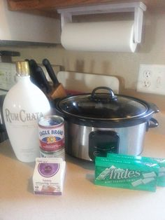 RumChata Hot Cocoa  Use two bags of chopped up Ande's mints, one bottle of Rum Chata, two small cans of sweetened condensed milk, one small carton of heavy whipping cream, and 4 cups of milk! Double to make a large pot. Just mix everything together, set on high for 2 hours stirring occasionally and then enjoy