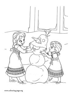 At young age, Elsa and Anna loved to build snowmen together. Enjoy this beautiful Disney Frozen coloring page and have fun!
