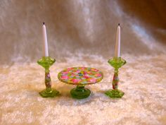Dollhouse Doll House Miniature Floral Cake Stand Candle Holder Set Green | eBay