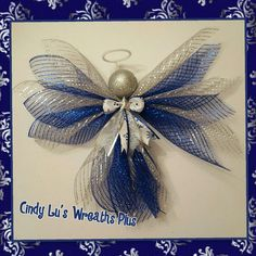 Silver and blue deco mesh angel