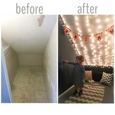 Closet Makeover + Underneath Staircase + Closet Playroom + Chalkboard Walls  + Twinkle Lights