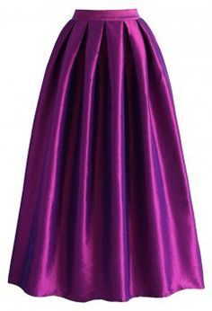 La Diva Pleated Maxi Full Skirt in Violet - Retro, Indie and Unique Fashion