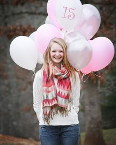 Birthday balloon photos - have them hold just one balloon then every year do the same picture but add a balloon for their age. 13th Birthday Parties, Birthday Gift For Wife, 15th Birthday, Birthday Celebration, Birthday Wishes, Teenager Birthday, Teen Birthday, Sweet 16 Pictures, One Balloon