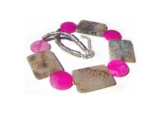 Statement necklace with agate For her Gemstones Agate stones Grey Pink Unique Perfect gift Women OOAK - pinned by pin4etsy.com