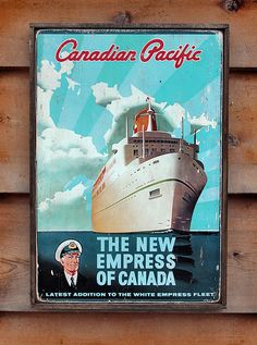 NEW Vintage wooden sign 'Empress of Canada' by VASSdesign on Etsy