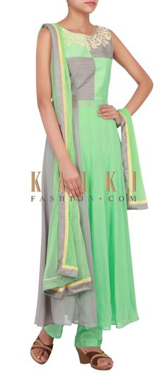 Buy Online from the link below. We ship worldwide (Free Shipping over US$100) http://www.kalkifashion.com/catalog/product/view/id/14833/s/mint-and-grey-suit-embellished-in-thread-and-sequin-only-on-kalki/