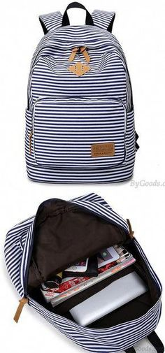 87c44f40fa Summer Striped Leisure Canvas Backpack is a cute backpack for school !