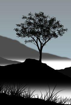 Pretty landscape in silhouette. Belle Image Nature, Landscape Photography, Art Photography, Silhouette Photography, Lone Tree, Tree Silhouette, Tree Art, Amazing Nature, Beautiful World