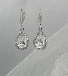 Crystal Bridal earrings Wedding jewelry Swarovski Crystal Wedding earrings Bridal jewelry, Ariel Drop Earrings. $33.00, via Etsy.