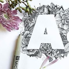 Floral typography #blackafricagroup #floral #typography #A #letters #design #design #drawing
