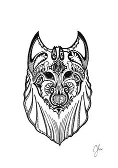 Pen & Ink drawing of a wolf by SomeCatchyName on Etsy
