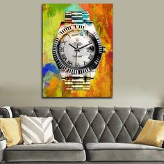 Hustle Time Watch Abstract Watch Framed Wall Art - Royal Crown Pro