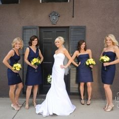 Navy Blue Wedding Inspiration-- the different dress styles Navy Yellow Weddings, Blue Purple Wedding, Navy Blue Bridesmaid Dresses, Wedding Colors, Blue Dresses, Navy Bridesmaids, Bridesmaid Color, Bridesmaid Gowns, Ladies Dresses