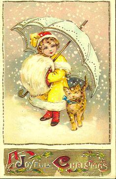 Vintage Christmas postcard, girl with umbrella and muff.