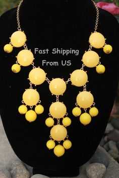 Bib necklace Yellow Bubble necklace Statement Necklace Bubble necklaces for women Jcrew style Chunky Necklace