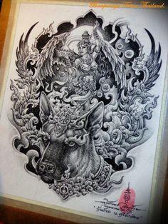 Om Tattoo Design, Tattoo Designs, Dragon Tattoo Full Back, Thailand Tattoo, Thai Tattoo, Thai Art, Black And Grey Tattoos, Animal Drawings, Line Art