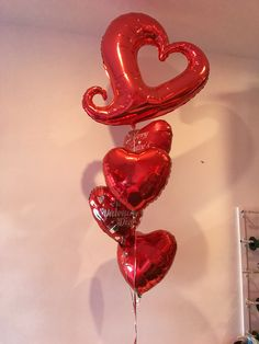 Linky heart red themed balloon bouquet