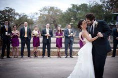 I love this idea of having the bridesmaids and groomsmen line the dance floor during the bride and groom's first dance!