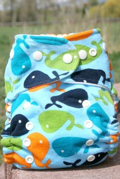 Boy: Organic Cotton Whale One Size Cloth Diaper Cover by browncowcotton