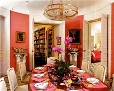 Jacques  Grange interior; part of the Agostinelli home in Paris (walls in 'Provence Stripe: Cerise and Sand,' by Thorpe of London).